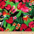 Trans-Pacific Textiles Tropical Hawaiian Anthurium Black