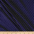 Double Brushed Poly Jersey Knit Small Dot Navy