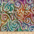 Bright Mosaic Embroidered Batik Scroll Aqua/Purple/Blue