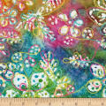 Bright Mosaic Embroidered Batik Floral Pastel Multi