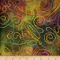 Bright Mosaic Embroidered Batik Swirl Olive/Green/Gold