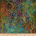 Bright Mosaic Embroidered Batik Swirl Multi