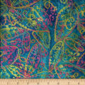 Bright Mosaic Embroidered Batik Leaves Blue/Pink