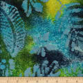 Leaf and Vine Batik Tropical Leaf Navy/Lime/Turquoise