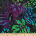 Leaf and Vine Batik Tropical Leaf Green/Lavender/Blue