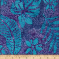 Leaf and Vine Batik Tropical Leaf Royal/Green
