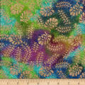 Montego Bay Batik Gold Overprints Floral Metallic Gold/Lime/Purple/Aqua