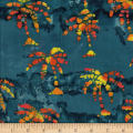 Ocean Grove Batik Small Palm Tree Blue/Gold/Red