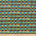 Ribbon Kente African Print 12 Yards Orange/Blue/Black