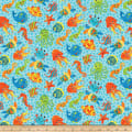 Northcott  3D Underseas Adventures Creatures Turquoise Multi