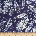 Banyan Batiks Feathers Small Florals & Feathers White/Blue