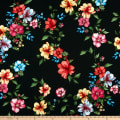 Liverpool Double Knit Tropical Floral Black/Mauve