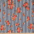 Liverpool Double Knit Striped Floral Navy/Coral