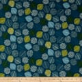 Cosmo Reversible Woodland Cotton/Linen Canvas Scattered Leaves And Triangles Blue