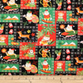 Trans-Pacific Textiles Hawaiian Santa Christmas Black