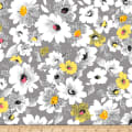 QT Fabrics  Nadine Packed Floral Grey
