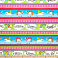 "QT Fabrics Party Like A Unicorn Unicorn 10"" Decorative Stripe Multi"