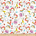 QT Fabrics Party Like A Unicorn Tossed Unicorns White