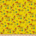 QT Fabrics Party Like A Unicorn Flowers Yellow