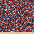 QT Fabrics  Adeline Stylized Tossed Floral Navy