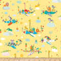 QT Fabrics Safari In The Sky Safari Animals In Planes Yellow