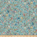 QT Fabrics Mirabelle Midnight Garden Packed Flowers Blue