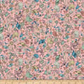 QT Fabrics Mirabelle Midnight Garden Packed Flowers Pink