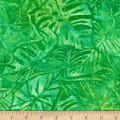 Kaufman Artisan Batiks Totally Tropical Multiple Leaves Island Green
