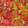 Kaufman Artisan Batiks Totally Tropical Hibiscus Island Green