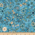 Kaufman Calista Pearl Flowers Blue
