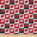 NCAA Cotton Broadcloth Wisconsin Collegiate Check