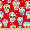 Timeless Treasures Metallic Sugar Skulls Red