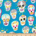 Timeless Treasures Metallic Sugar Skulls Turquoise