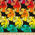 Timeless Treasures Colorful Unicorn Heads Black