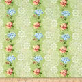 Romantique Digital Print Stripe Floral Sage/Blue White