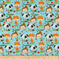 Henry Glass Flannel Puppy & Pals Allover Characters Blue