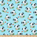 Henry Glass Flannel Puppy & Pals Tossed Puppies Blue