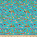 Henry Glass Handmade With Love Embroidery Thread Allover Aqua