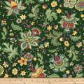 Clothworks Wintertide Jacobean Floral Forest