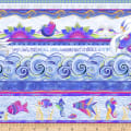 Clothworks Sea Goddess Pictorial Stripe Light Periwinkle Metallic