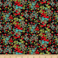 Stof Fabrics Denmark Annaluna by Hoodie Abstract Floral Black