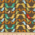 Stof Fabrics Denmark Urban Nature Birds Brown