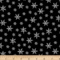 Stof Fabrics Denmark Winter Is Coming Snow Flakes Black