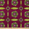 Supreme African Wax Print with Rhinestones Broadcloth 6 Yard Red/Green