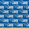 NFL Cotton Broadcloth Detroit Lions Grey/Blue