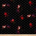 Double Brushed Poly Jersey Knit Dots and Floral Black/Red