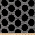 Double Brushed Poly Jersey Knit Abstract Dots Black