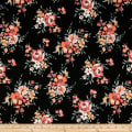 Liverpool Double Knit Floral Bouquet Black/Coral
