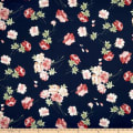 Rayon Challis English Roses Navy/Coral