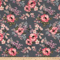 Techno Scuba Knit English Floral Garden Charcoal/Mauve
